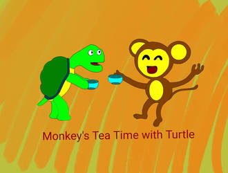 Monkey's tea time with turtle. by BillyJoeWasHere