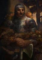 Icewind dale: Warrior with a bear pelt by IgorLevchenko