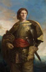 Half-elf spellblade RPG character portrait by IgorLevchenko