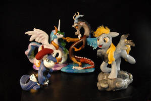 MLP - Celestia, Discord, Derpy and Beatnik Rarity by Miki-