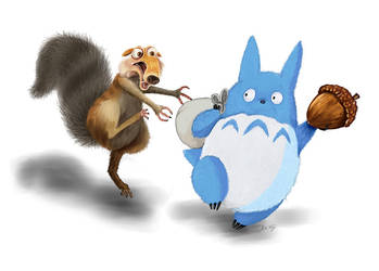 Ice Age Scrat and Chuu Totoro by Miki-