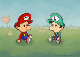 Baby Mario and Baby Luigi by TrishaKat