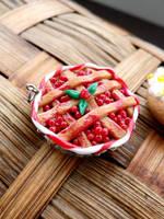 polymer clay cherry tart necklace by GirlOfTheOcean