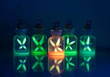 Legend of Zelda Inspired, Colorful Fairy Bottles by IvrinielsArtNCosplay