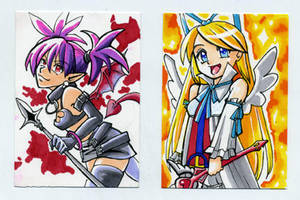 Sketch Card Flonne and Etna by glance-reviver