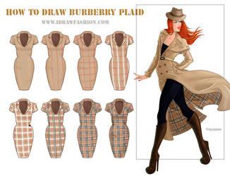How to draw burberry plaid pattern by idrawfashion