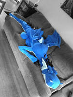 Custom-Made 8 Foot Blue Flannel Dragon by SarahMiele