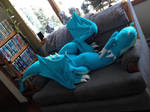 Giant 8 Foot Teal Turquoise Cozy Flannel Dragon by SarahMiele