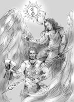 The sun - Thor and Loki by Lykusio