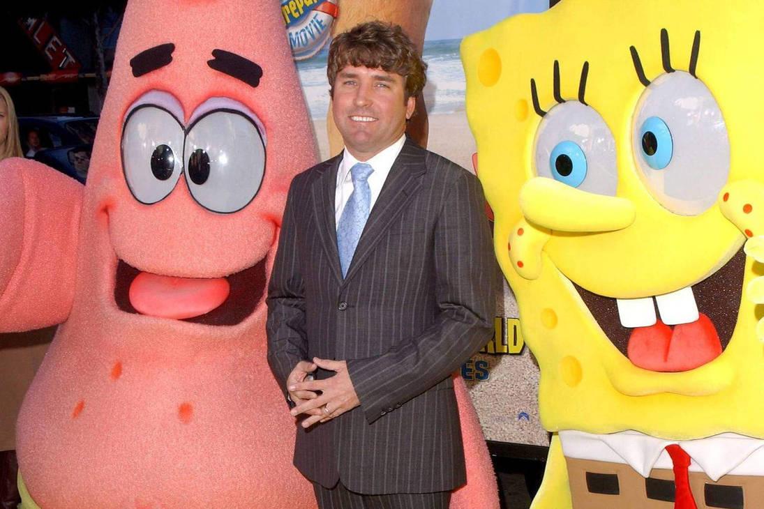 Stephen Hillenburg with Spongebob and Patrick by Callewis2