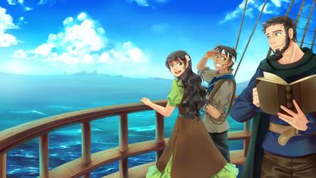 Commission - Three at the sea by DejiNyucu