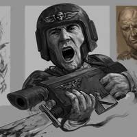 Imperial Guardsman Bayonet Charge Portrait Sketch by HarryOsborn-Art