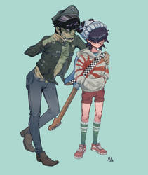 Noodle and Murdoc by conorsmith12