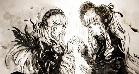 Inktober Day 11 + 12: Beyond the Mirror by kuridoki