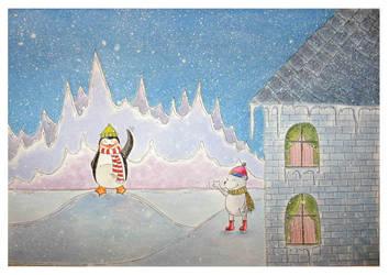 polar bear and penguin by Adnil