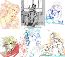rough FF7 Cloud and Aerith by taka0801