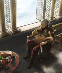 Tommen and Ser Pounce by taka0801