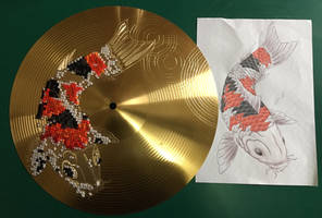 Cross Stitched Koi on a Drum Cymbal by silverscape