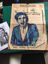 Biro Art Portrait of Norman Wisdom on News Paper by silverscape