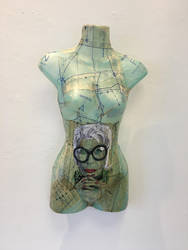 Iris Apfel Portrait on Vintage Dress Pattern by silverscape