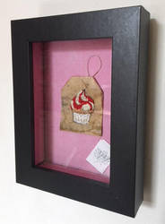 White and Red  Cup Cake Embroidered on a Tea Bag by silverscape