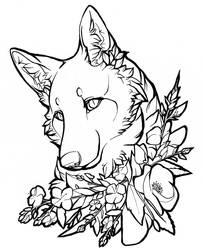 Lineart: Floral Vixen by Roukara