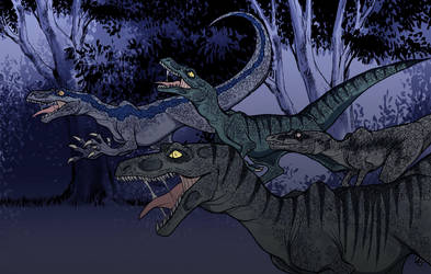Jurassic World Raptors by psychomindset