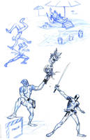 deadpool Sketches by bolognafingers