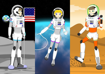 The Space Kids : Adult Versions of p-EMU Spacesuit by ZhmieXD