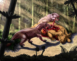 Biarmosuchus tener and Estemmenosuchus mirabilis by Plioart