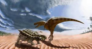 Tarbosaurus and saichania by Plioart