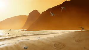 Footprints in the sand. by Plioart