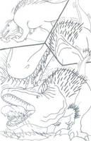 Mapusaurus Eating Carcass by roukaryu