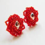 Red rose earrings by Sol89