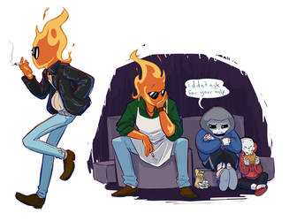 UT - Young Grillby Doodles by SimonSoys