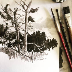 Inktober 7 trees near Silz by rskrakau