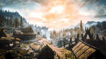 Dragon Bridge - Skyrim by WatchTheSkies45