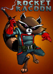 Rocket Raccoon by dwaynebiddixart