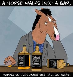 A horse walks into a bar... by dwaynebiddixart