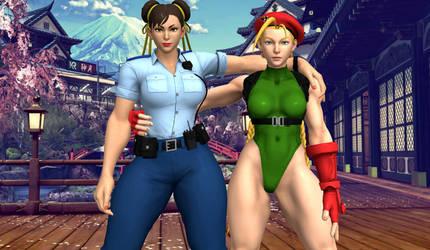 Cammy And Chun Li Fighting Girls by Balrog512