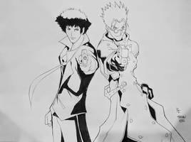 Spike and Vash by BrandonFranklin