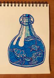 Bottled Sea Turtles by onlygoodart