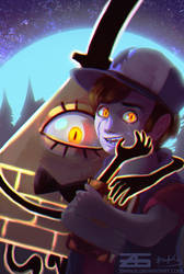 Gravity Falls - Bill Cipher and Bipper by Zinrius