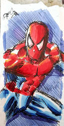 colored version of spidey on a tea bag container by gocudo49