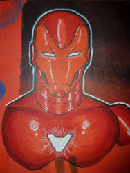 Iron Man on red paper by gocudo49