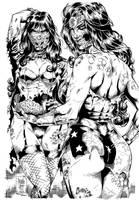 Zombies (Zatanna and WW) - Ink by johncastelhano