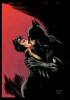Batman and Catwoman (color) by johncastelhano