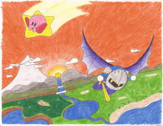 Kirby and Metaknight's Flight by snailgirl6