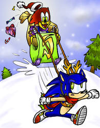 Sonic and Woody woodpecker by widdywoodpecker