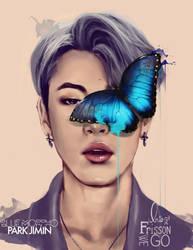 Park Jimin: Blue Morpho by IntoTheFrisson